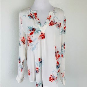 Joie 100% Silk Blouse Top Floral Sz Small White